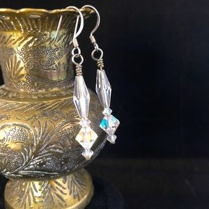 Austrian Crystal and Sterling Silver Earrings